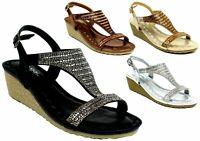 New Ladies Fashion Casual/Formal Open Toe Wedge Heel Pin Buckle Women Sandal UK