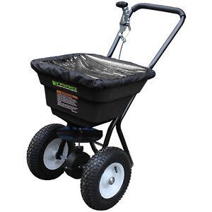 Push Lawn Fertliser Seed Salt Grit Spreader 36kg Capacity c/w Flow Rate Control