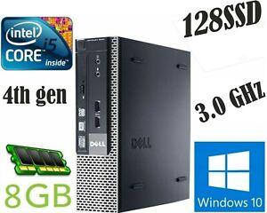 DELL 9020 SFF  intel Core  i5-4590S 3.0GHz 4th Gen 8GB RAM 128SSD Win10 Pro