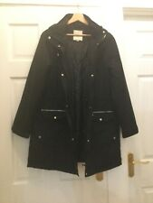 George Ladies Black Zipped Long Jacket Size 16 Exc Cond - Clothing Womens