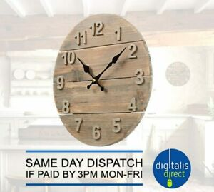 Kitchen Wall Clock Rustic Real Wood 30cm Diameter Distressed Shabby Chic
