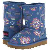 NEW UKALA MYA BLUE BOOTS GIRLS 4  SHERPA/MERINO LINED TRIBAL PRINT