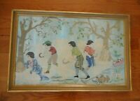 Antique Vintage Embroidered Cross Stitch Canvaswork Field Workers Wheat Sickle