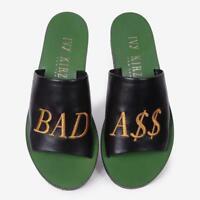Ivy Kirzhner Quotes Bad AS# Badass Green Black Flat Slide Mule Slip On Sandals