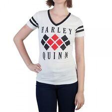 Harley Quinn Diamond Logo Varsity V-Neck Shirt White - Medium