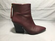 & Other Stories Designer  Burgundy Leather Ankle Boot US 5.5  EU 36