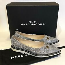 Marc Jacobs The Mouse Shoe Silver Glitter Flats Womens Size 7 Pointed Toe New