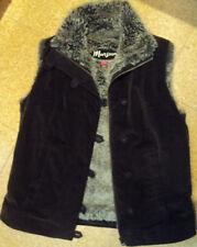 Button Hip Length Faux Fur Waistcoats for Women