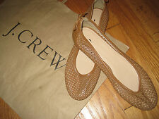 J CREW 'Quorra' brown Leather Ballet Flat dark cedar  #36226 $65 size 9.5
