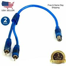 "2x 7"" RCA Audio Jack Cable Y Adapter Splitter 1 Female to 2 Male Plug OFC 2 Pcs"