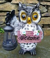 Solar Powered Decorative Garden Ornament Owl Light Up Lamp