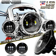 "7"" LED Head Light + 4 inch Auxiliary Spot Lamps Black Fits Harley Davidson"