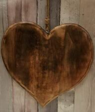 Extra Large Handmade Polished Mango Wood Heart Wall Art Hanging Wedding Bedroom