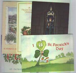 1989 Ireland St Patrick's Day Cards Set of FIVE, AN POST Unused.