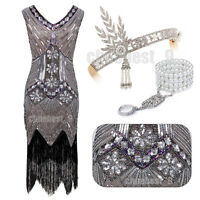 Sequins Beads 1920s Flapper Dress Gatsby 20's Charleston Party Womens Costume