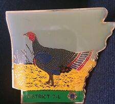 """LIONS CLUB  Pin - Arkansas District 7-L  -  Wild Turkey Design - 2 1/2"""" X 2 1/2"""""""