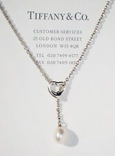 Tiffany & Co Elsa Peretti Silver Open Heart Small White Pearl Lariat Necklace