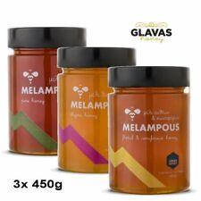 Probierset Griechischer Premium-Honig Melampous 3x 450g Blüten Pinien Thymian