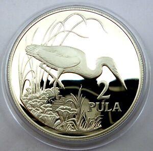 Botswana 2 Pula 1986 Silver Coin Proof World Wildlife Fund - Slaty Egret (T117)