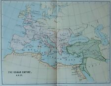 Roman Empire AD 117 | Antique Map c1880 | reign Emperor Trajan | Britannia