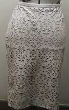 NWT Lord & Taylor White Laser Cut Faux Leather Women Skirt Sz 6P 28 In Waist