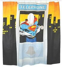 OFFICIAL DC COMICS SUPERMAN TELEPHONE BOX SHOWER CURTAIN BATHROOM NEW WITH TAGS