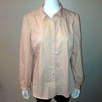 Loft Shirt Size L Large Womens Button Down Blouse Top Ann Taylor Pink Stretch