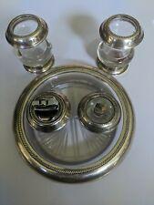 Lot Sterling Silver Glass (3) Cigarette Holder Urns & (2) Lighters Frank Whiting