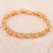 Lady 7mm Morganite 18k gold filled fashion jewelry Gemstone Bracelet Tb028