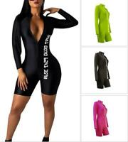 Women Long Sleeve Zipper Letter Print Casual Club Party Bodycon Sports Jumpsuit