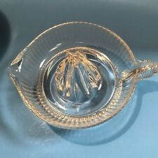 "Vintage Juicer Reamer Glass Ribbed Clear Fruit Squeezer Large 7.5 "" Retro"