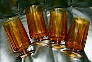 """Vintage Lot of 4 Amber Glass Drinking Glasses with Pedestal 6"""" HEAVY  EUC"""
