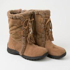 00326196b99 Lands  End Tan Suede Leather Boots Women s 9B Fleece Lining Zip Up ...