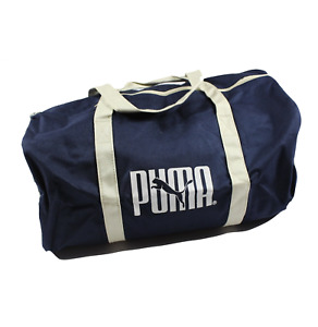 NOS Vintage 90s Puma Spell Out Duffle Duffel Bag Handled Gym Bag Navy Blue White