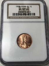 1998 Wide AM lincoln Cent MS67 RD NGC