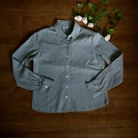 Brora Pale Blue Blouse Shirt Size 12 Long Sleeve Cotton Very Soft Buttoned