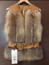 real fox fur and leather coat waistcoat