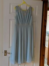 Monsoon pale blue chiffon Dress With Embellished Neck and waistline Size 16