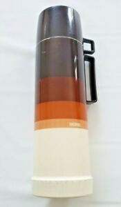 Vntg MCM 70s Thermos Brown Stripe 1 QT. Narrow Neck 24F Stopper King Seeley