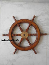 24'' Collectibles Ship Wheel Replica Teak Wood Boat Wheel Steering Ship Wheel