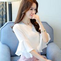 Fashion Womens Chiffon Shirt V Neck Korean Flare Sleeve Casual Loose Blouse Tops