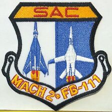 US AIR FORCE F-111 AARDVARK SAC MACH 2 IRON-ON Patch TAC FTR SQUADRON AFB