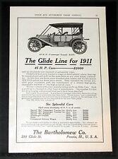 1910 OLD MAGAZINE PRINT AD, BARTHOLOMEW GLIDE LINE FOR 1911, SIX SPLENDID CARS!
