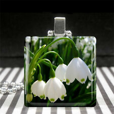 Lily of The Valley Necklace May Birth Flower Jewelry Glass Silver Gift for Girls