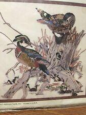 """Vintage Hallmark Design Wood Ducks Crewel Embroidery Kit Nip 16""""x16"""""""