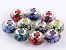 100pcs Mix Flowers SILVER MURANO bead LAMPWORK fit European Charm Bracelet AB910