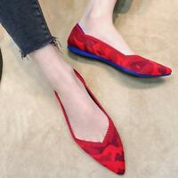 Women Pointed Flats Comfy Loafer Toe Woven Slip On Casual  Ballet Knitting Shoe