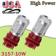 2x Pure Red 3157/3156 High Power 10W Projector Tail Brake Stop LED Light Bulbs