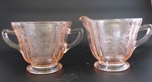 Pink Recollection Cream Pitcher and Sugar Bowl Indiana Glass 1982 PRIG001