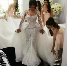 2017New Mermaid White/Ivory Wedding Dress Bridal Gown Custom Size2-8-10-12-14-16